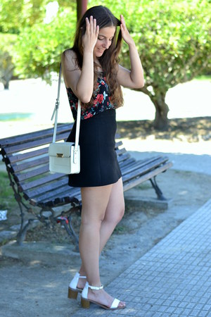 Sheinside top - Mango bag - Zara sandals - Zara skirt