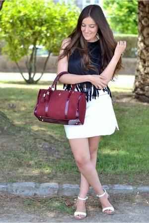 fringe Sheinside top - Menbur bag - Zara sandals - leather Zara skirt