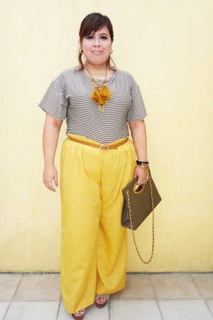 bronze necklace - charcoal gray bag - mustard wide-leg pants - brown striped top