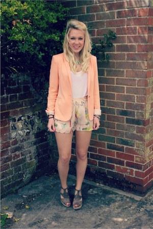 coral Zara blazer - floral H&M shorts - neon H&M necklace