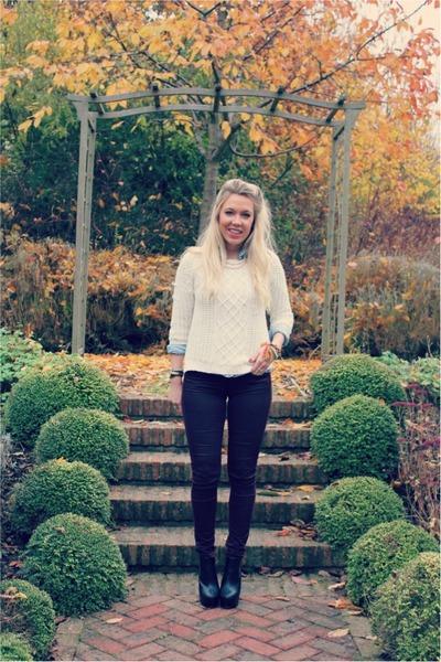 burgundy Topshop jeans - knitted Zara jumper