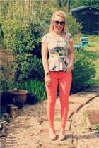 orange skinny OMGFashion jeans - floral peplum H&M blouse