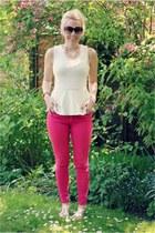 peplum Zara top - pink Zara jeans - beaded H&M necklace