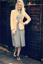 peach blazer Zara blazer - midi Topshop dress - holly Mulberry bag