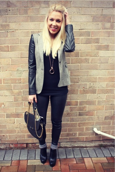 leather sleeves Zara blazer
