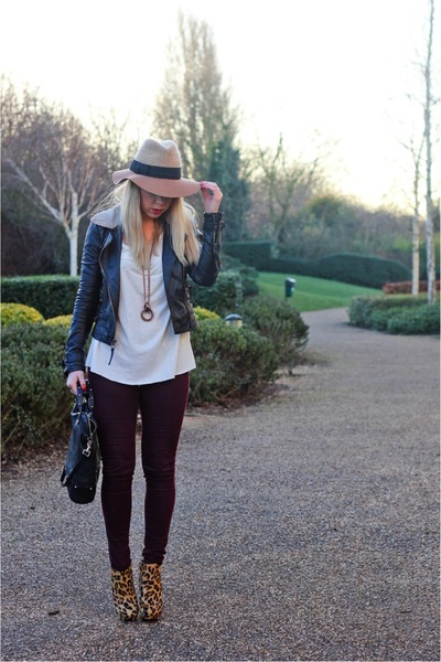 leopard print Zara boots - Topshop jeans - fedora Anthropologie hat