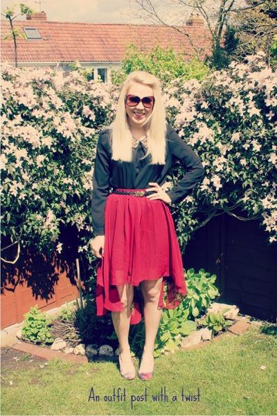 vintage skirt Sheinside skirt - Sheinside blouse - marissa heels Feud heels