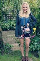 floral warehouse shorts - brogues River Island boots - wax Zara jacket