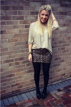 sequins Krisp Clothing skirt - gold Zara top