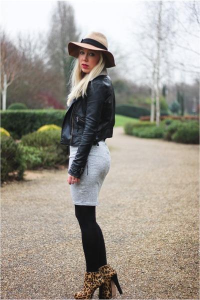 grey AX Paris dress - leather Topshop jacket