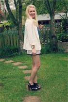 cream Topshop blazer - bow detail vintage shorts - marni hm Marni H&M heels