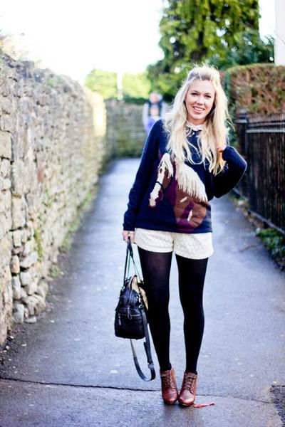 horse print warehouse jumper - lace sugarhill boutique shorts