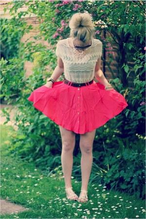 neon Topshop skirt - lace Zara blouse