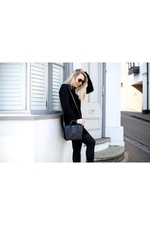 black suede Zara dress