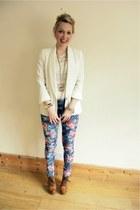 floral print FunkyDiva jeans - cream Topshop blazer - dip dye Zara top
