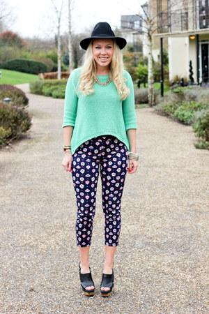 print Uniqlo pants - mint Zara jumper
