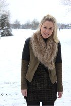 suede Zara jacket - tweed meemee dress - fur H&M scarf