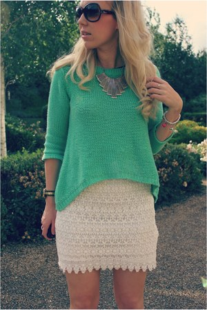 mesh Zara skirt - mint dip hem Zara jumper - nude Runway Shoes heels