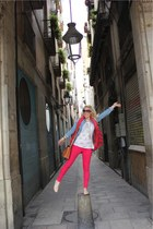 floral print Urban Outfitters top - Zara jeans - denim shirt Topshop shirt