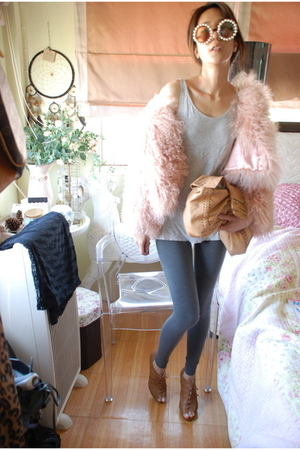pink Topshop coat - beige fendi clutch accessories