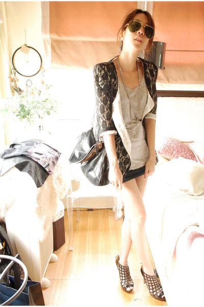 ployys vintage blazer - slouchy tee top - Boyy bag accessories - Topshop shoes