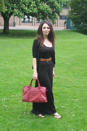 black asos dress - red accessories - black H&M shoes - brown Topshopp belt