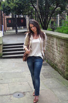 beige Zara blazer - brown vintage accessories - beige River Island vest
