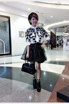 black coach bag - ivory pena house shirt - black no brand skirt