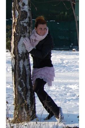 black boots - neutral skirt - black jacket - neutral scarf