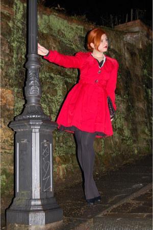 red Primark coat