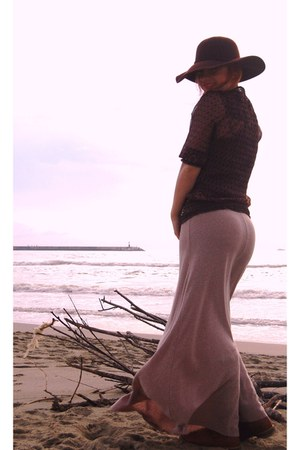 dark brown Bershka hat - puce Stradivarius blouse - light pink Zara skirt