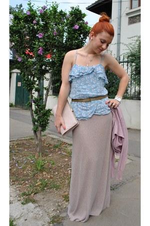 light blue next bag - light pink Zara skirt