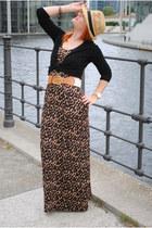 crimson H&M dress - black H&M cardigan - bronze Gap belt