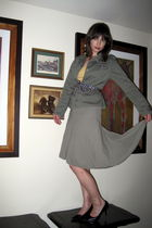 green jacket - green banana republic skirt - blue Guess tie - brown Target shoes