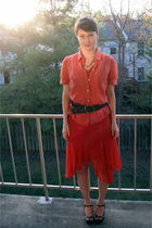 red Papell for Dress Barn dress - red banana republic blouse - brown Ragazzi Veg