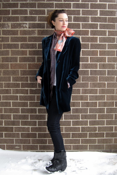 blue inherited jacket - blue vintage from husband shirt - white Forever21 t-shir