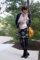 blue blazer - blue shirt - blue simply vera wang tights - white sweater - yellow