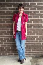white elle blouse - blue jeans - brown shoes - pink dress