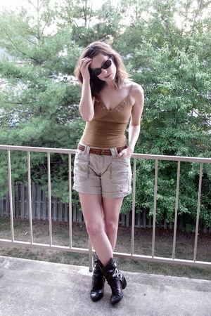 brown shirt - beige shorts - brown belt - brown boots - brown sunglasses
