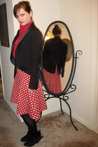 red blouse - black Forever 21 blazer - red skirt - black GoJane boots