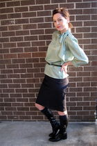 green blouse - blue Gap skirt - green Forever21 belt - black boots