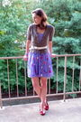 Purple-dress-brown-cardigan-red-shoes-white-belt