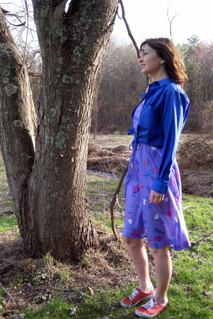 blue thrifted Foxcroft shirt - red Keds shoes - purple thrifted dress