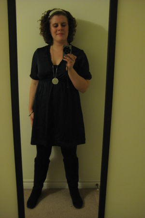 blue joe fresh style dress - black garage leggings - brown le chateau boots - go