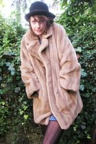 beige Yayer coat - blue vintage from Ebay dress - black vintage from Ebay hat