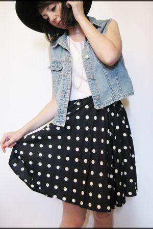 blue vintage jacket - white vintage top - black vintage from Ebay skirt - black