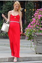 red maxi Express dress - kate spade bag - white Nine West sandals