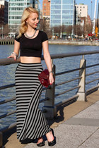 maroon Nine West bag - black crop garage top - black striped kensie skirt