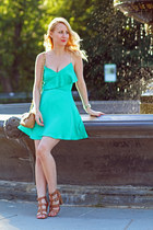 green Dynamite dress - brown Handbag Repbulic bag - brown Aldo heels