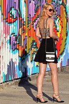daisy crop garage top - striped Aldo bag - black studded BCBGeneration heels